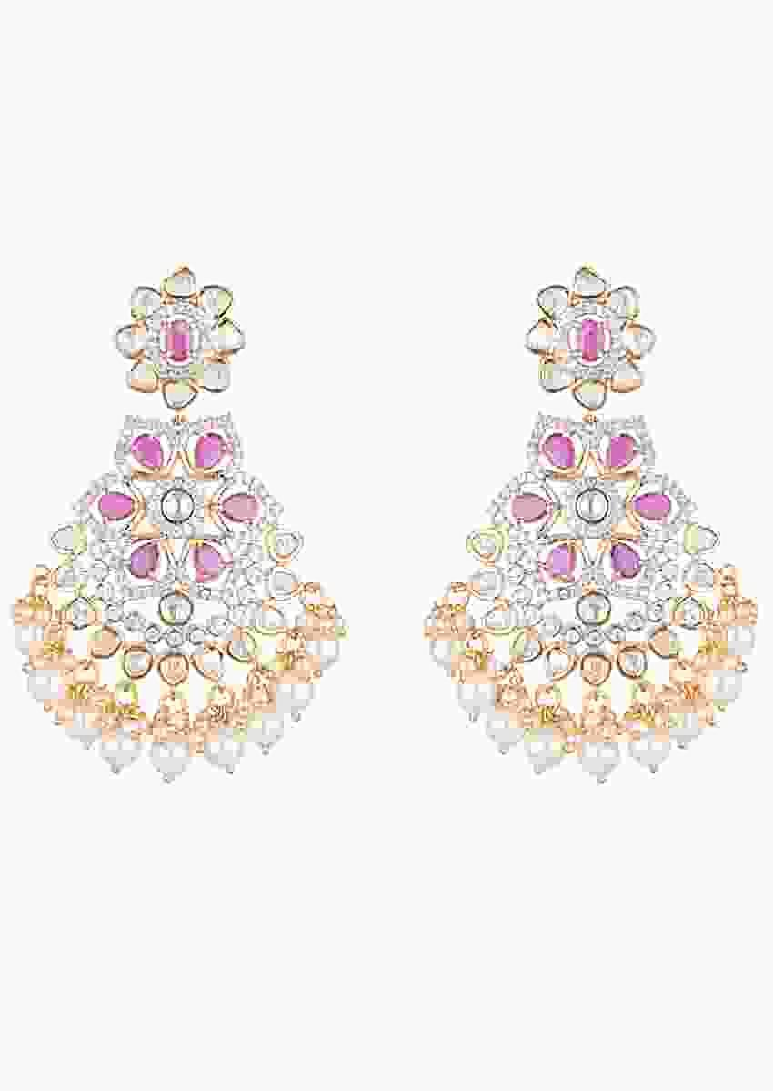 Gold Finish Kundan Earrings With Dark Pink Stones, Faux Diamonds And Pearls In Floral Design By Aster