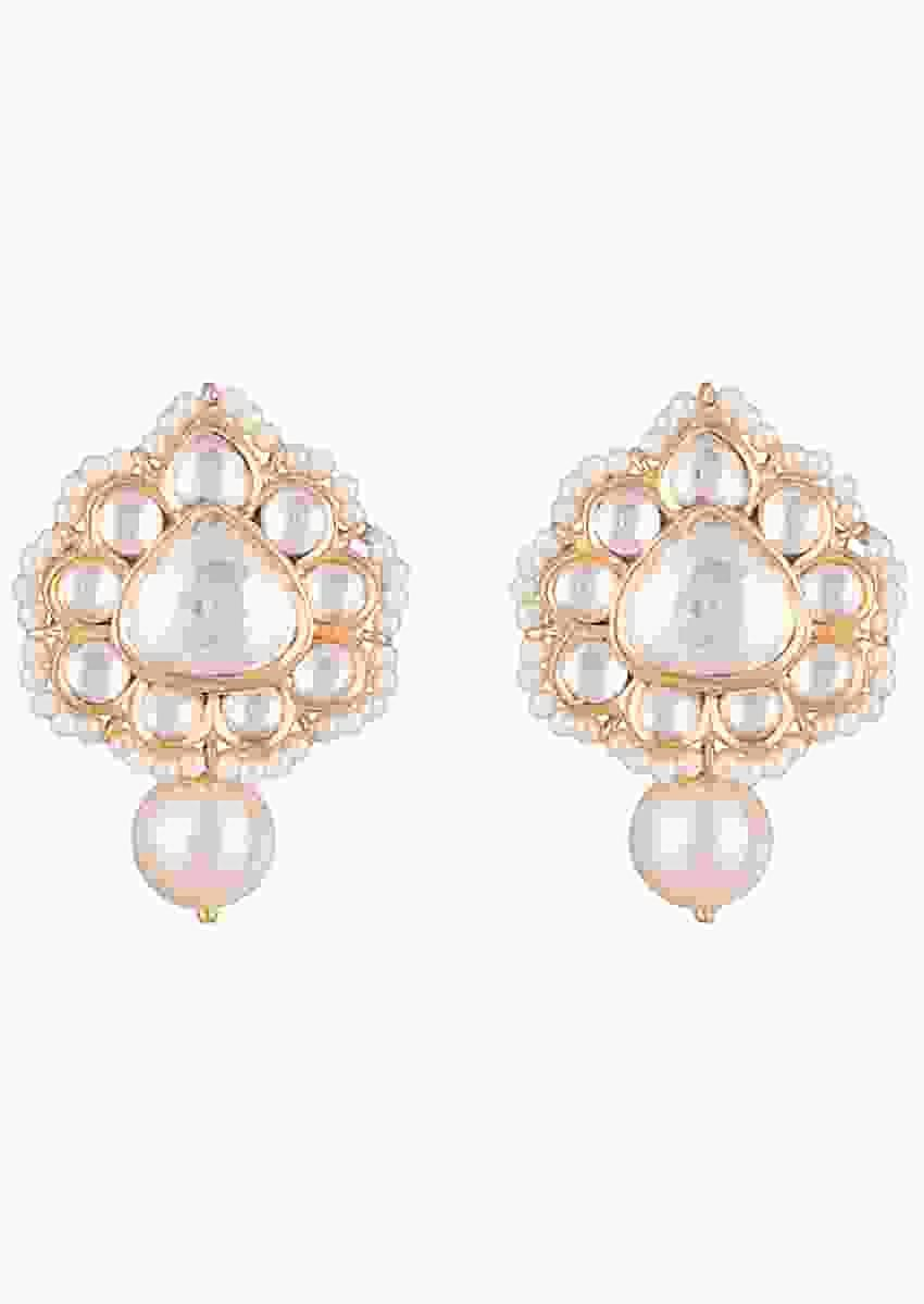 Gold Finish Stud Earrings With Kundan Work In Floral Design And Dangling Pearl By Aster