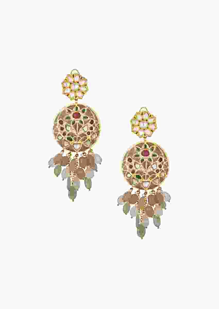 Gold Minakari Earrings Studded With Kundan In Round Motif With Dangling Jades Online - Joules By Radhika