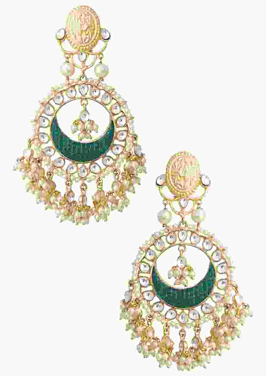 Gold Plated Chandbalis With Green Detailing Along With Kundan And Moti Work By Aster