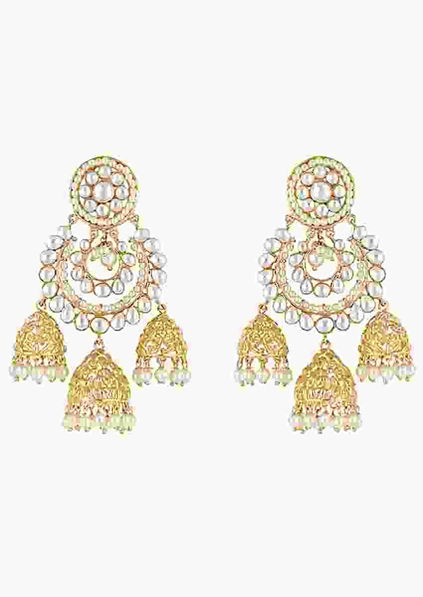 Gold Plated Chandbalis With Three Dangling Jhumkis And Faux Kundan Work By Aster