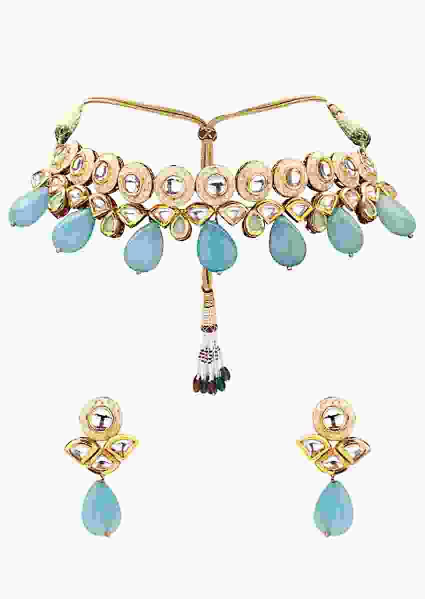 Gold Plated Choker Necklace And Earrings Set With Blue Semi Precious Stones And Kundan Online - Joules By Radhika