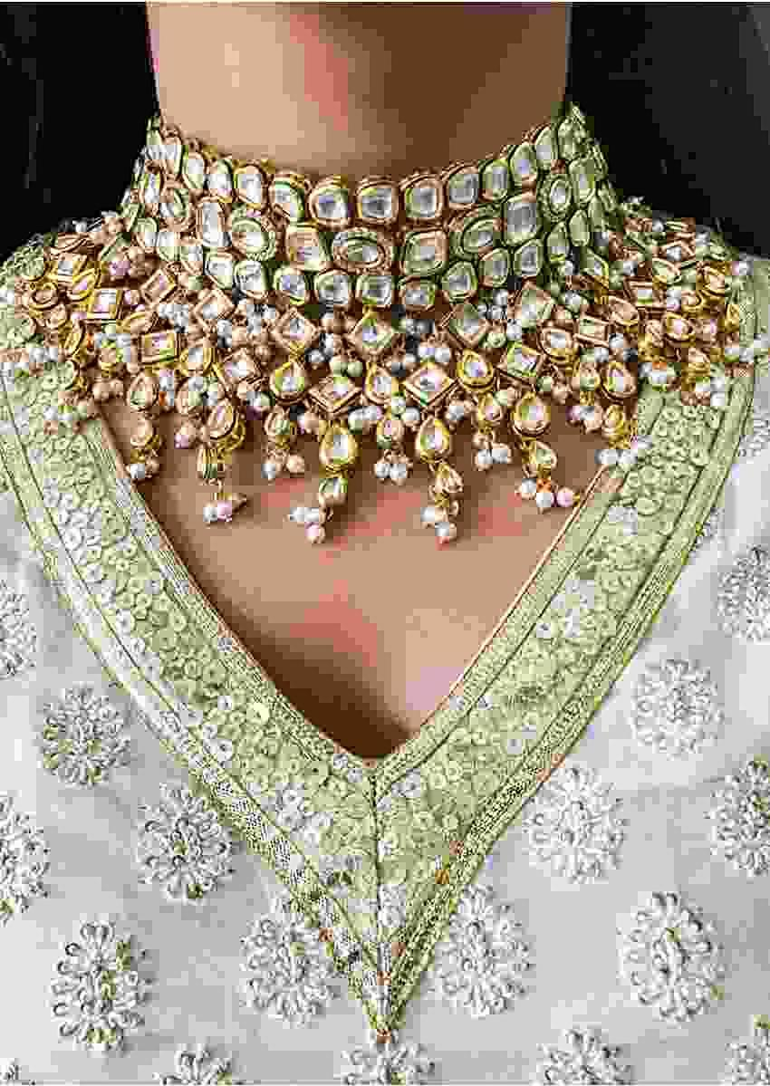 Gold Plated Choker Necklace Hand crafted With Pearls And Kundan Detailing By Prerto
