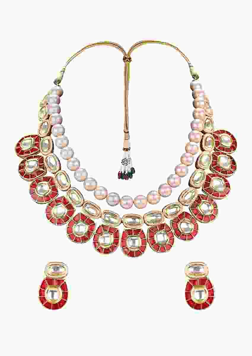 Gold Plated Earrings And Necklace Set With Polki, Red Meenakari And Shell Pearls Online - Joules By Radhika
