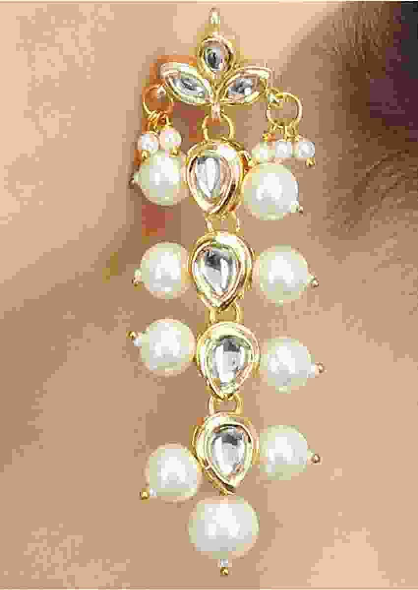 Gold Plated Earrings In A Long Sleek Design Embedded With Kundan And Pearls Online - Kalki Fashion