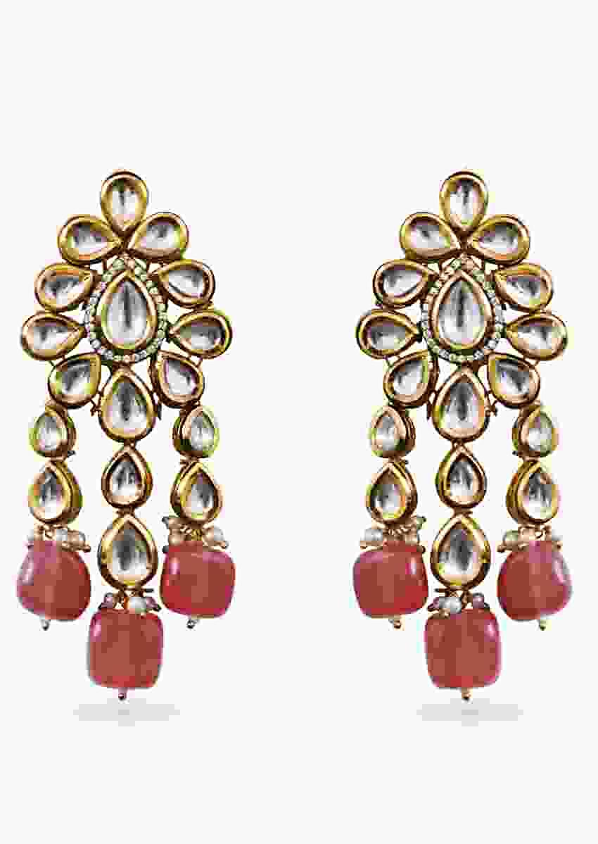 Gold-plated Earrings In Fringed Floral Design With Kundan And Semi Precious Pink Green Stones By Prerto