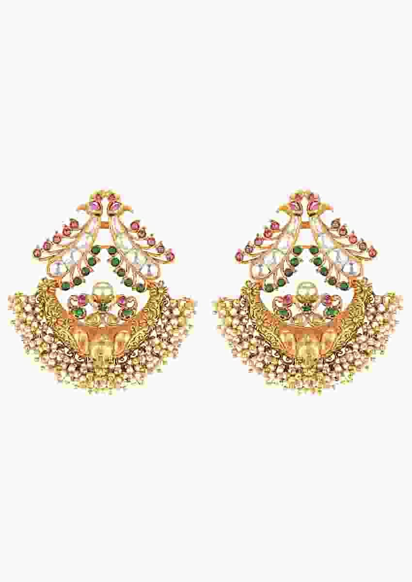 Gold Plated Earrings Studded With Rubies And Dangling Pearls Online - Joules By Radhika