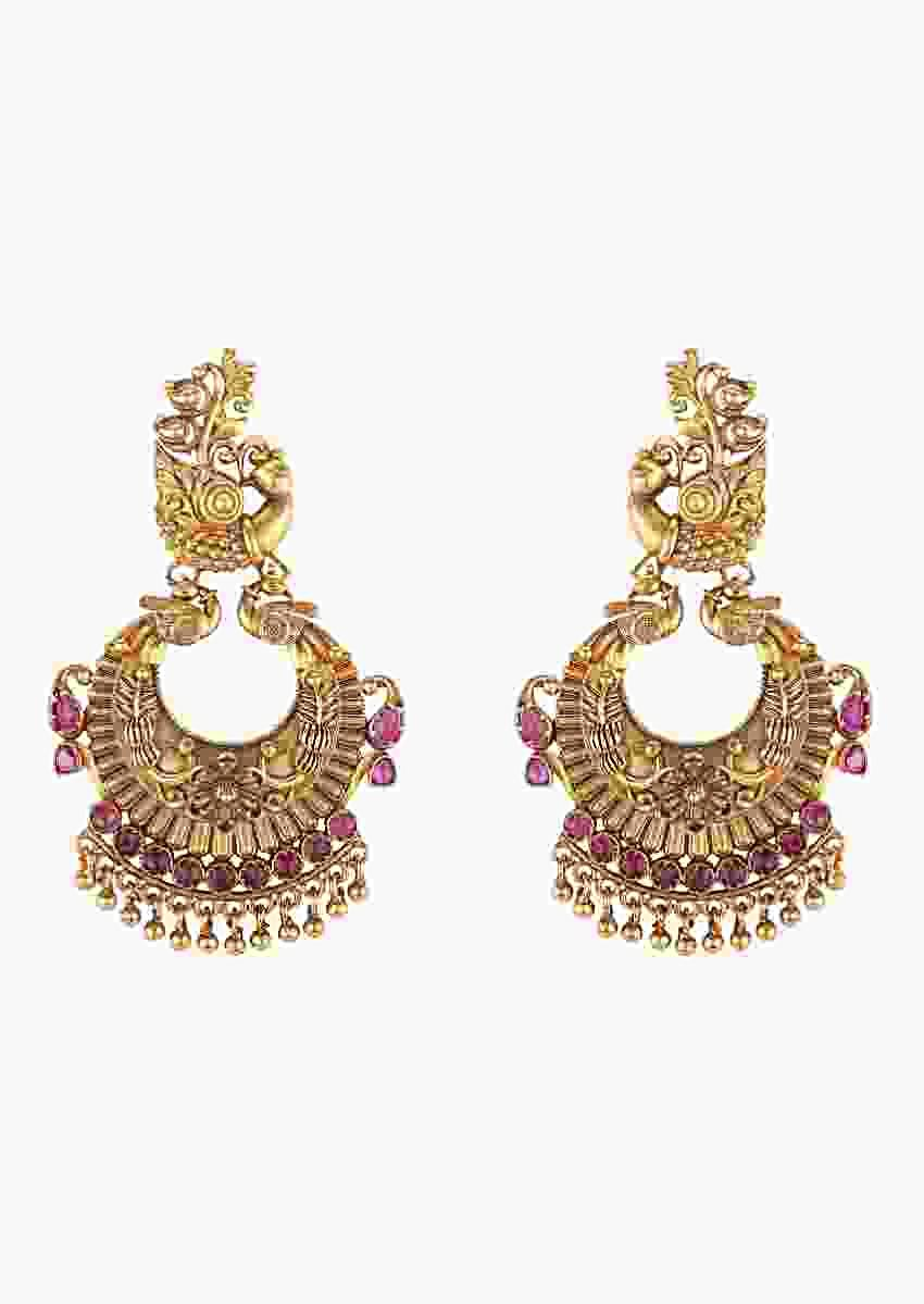 Gold Plated Earrings With Carved Crescent And Peacock Studded With Rubies And Pearls Online - Joules By Radhika