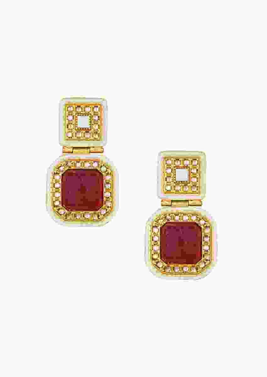Gold Plated Earrings With Kundan Polki And Carved Red Onyx Online - Joules By Radhika
