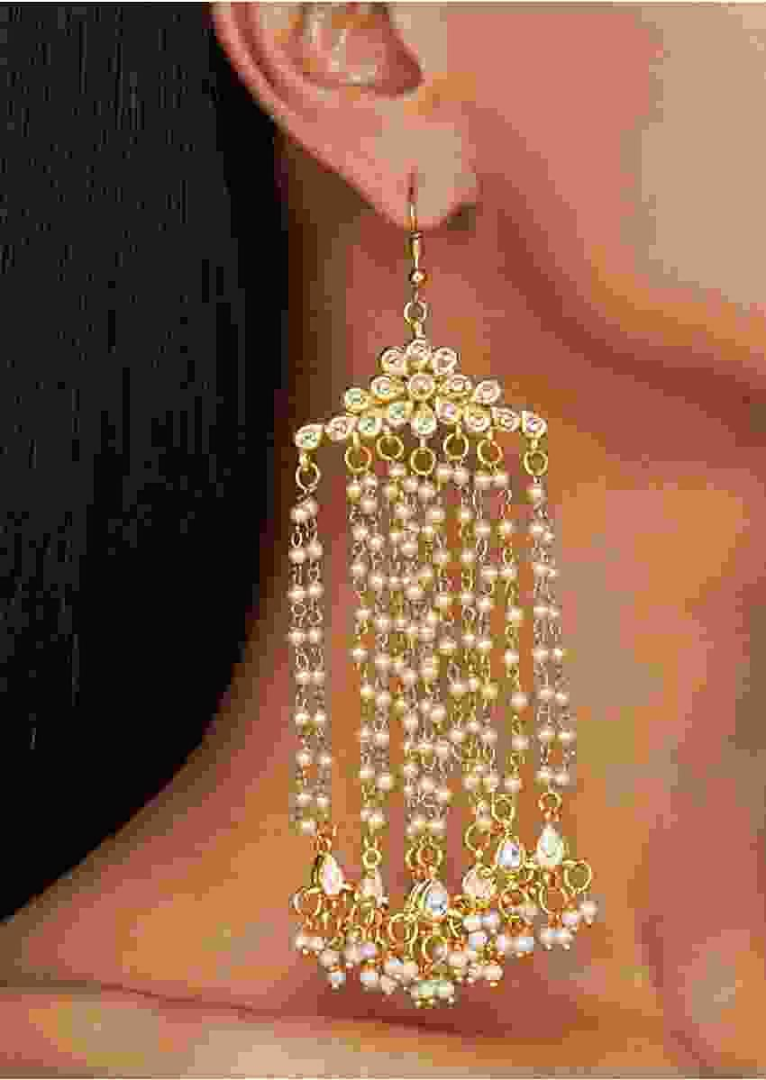 Gold Plated Earrings With Long Pearl Strings And Kundan Online - Kalki Fashion