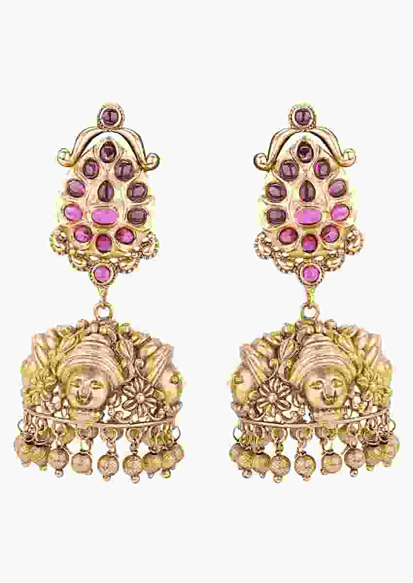 Gold Plated Ethnic Jhumkas With Carved Design Studded With Rubies And Emeralds Online - Joules By Radhika
