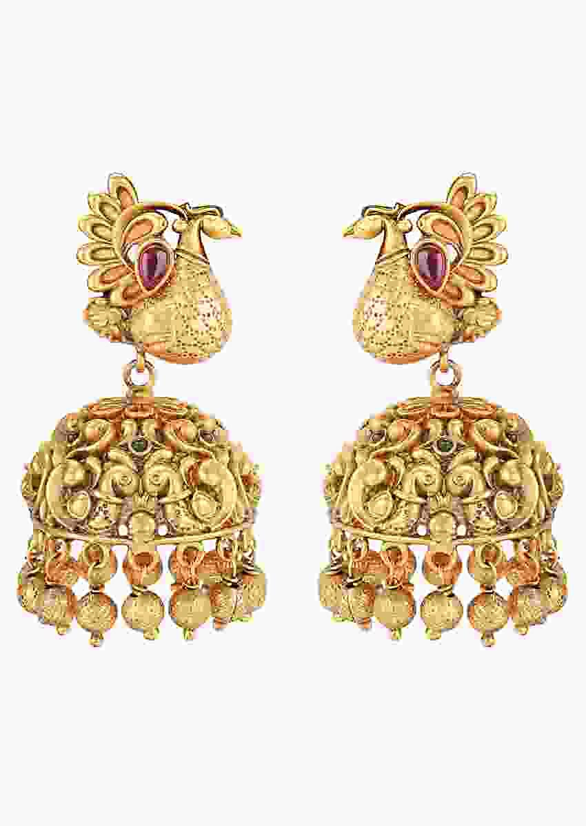 Gold Plated Jhumkas With Carved Peacock Design Accented With Rubies And Pearls Online - Joules By Radhika