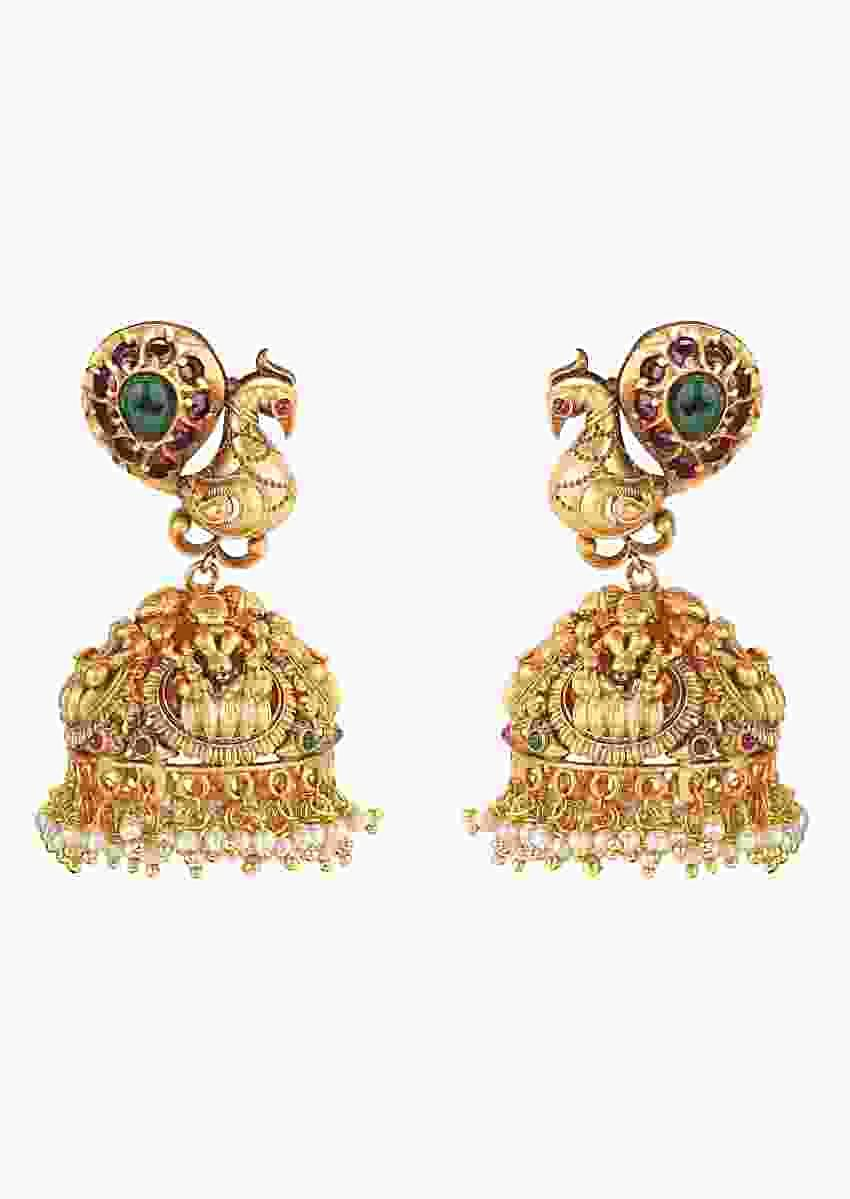 Gold Plated Jhumkas With Carved Peacock Design Studded With Rubies And Emeralds Online - Joules By Radhika