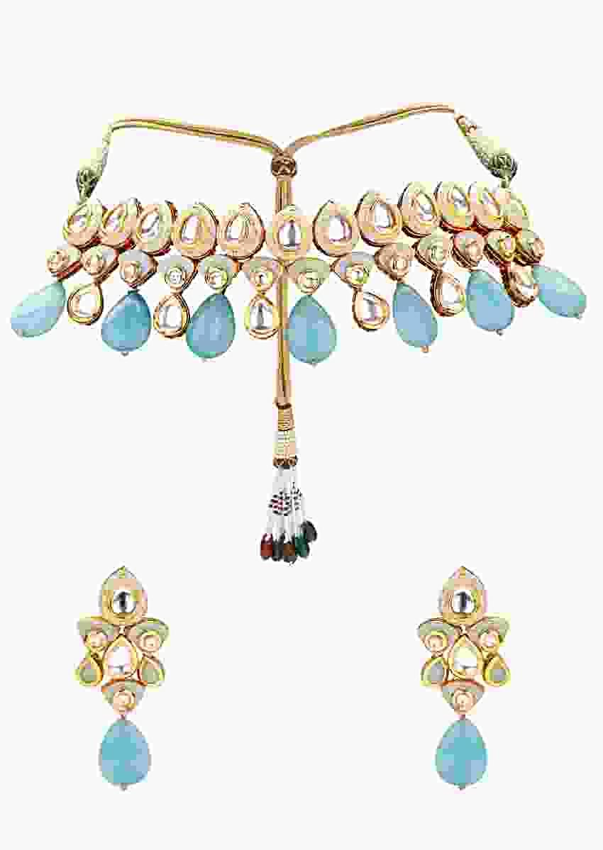 Gold Plated Kundan Choker Necklace And Earrings Set With Blue Semi Precious Stones Online - Joules By Radhika