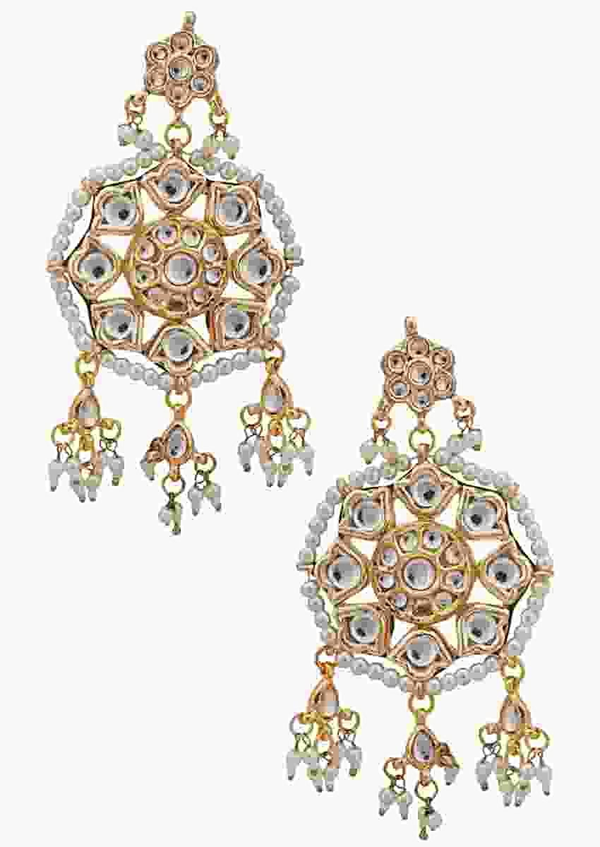 Gold Plated Kundan Earrings In Flower Shape With Moti And Minakari Online - Kalki Fashion