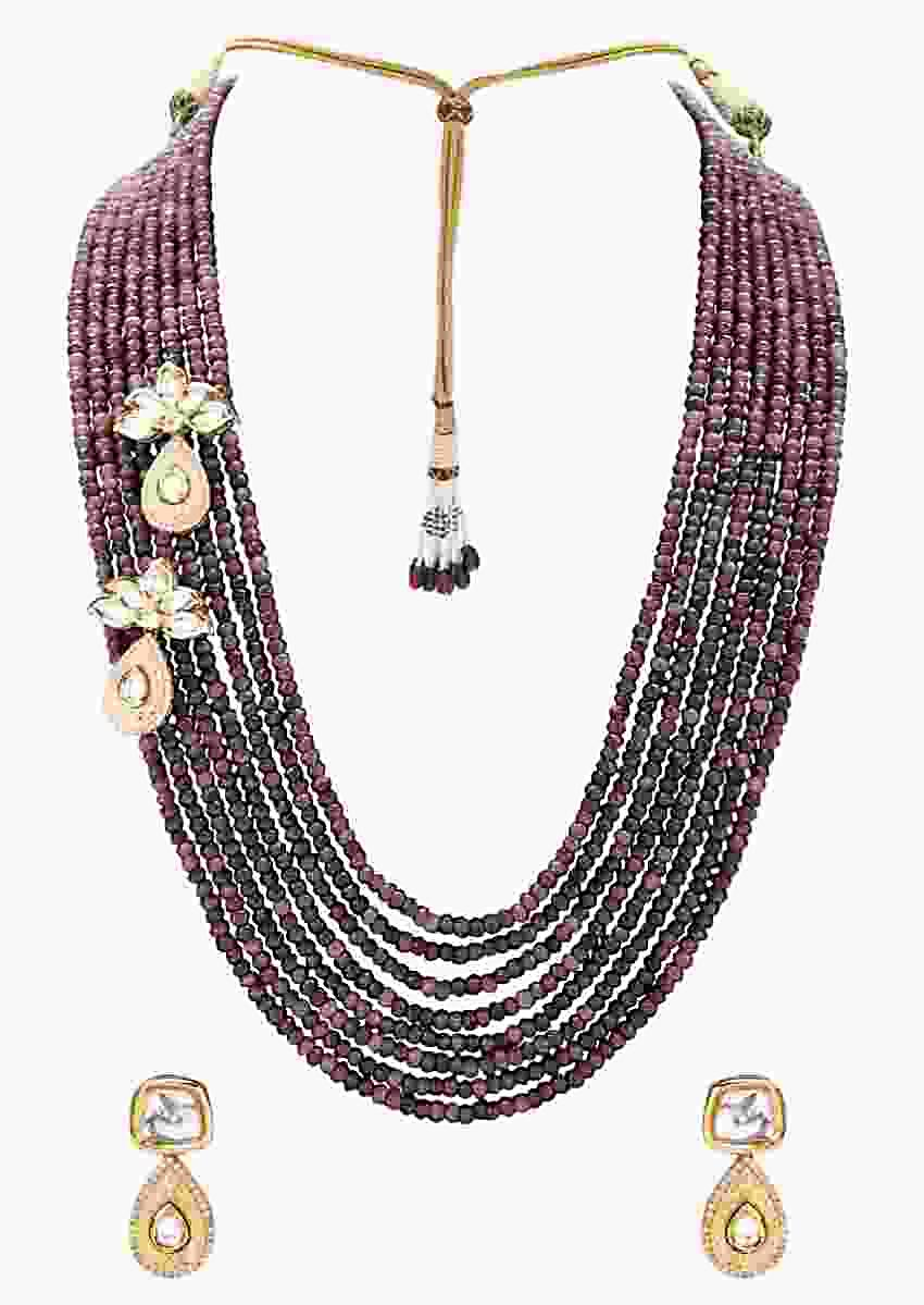 Gold Plated Kundan Set With Multi-Strand Semi Precious Beads Necklace And Drop Shaped Earrings Online - Joules By Radhika