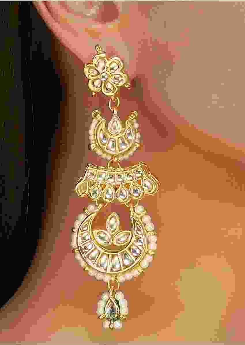 Gold Plated Long Chandbali Earrings With Kundan Work In Floral Design Online - Kalki Fashion