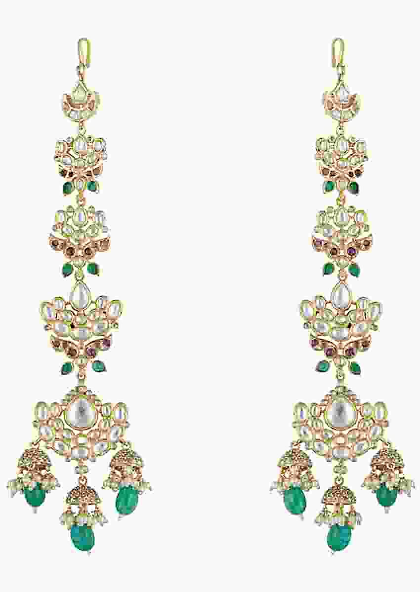 Gold Plated Long Earrings With Faux Kundan And Green Stones By Aster