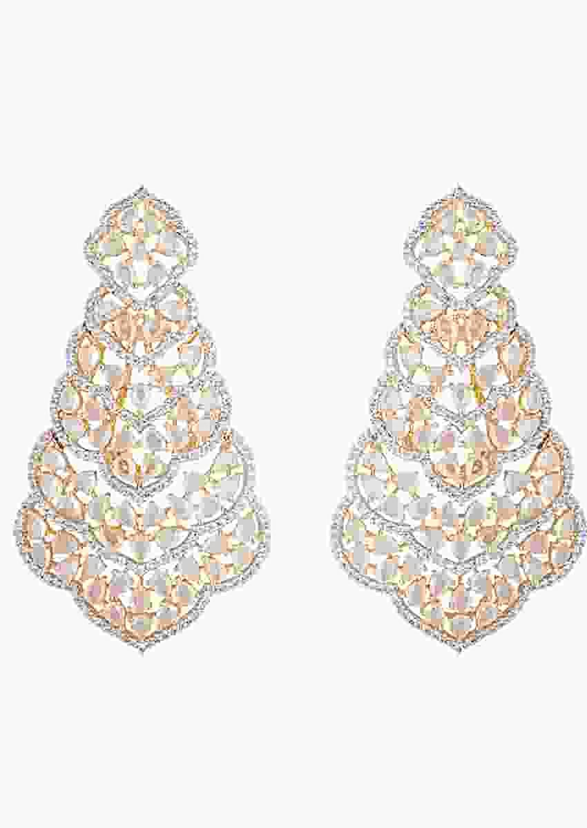 Gold Plated Long Ethnic Earrings Studded With Faux Diamonds By Aster