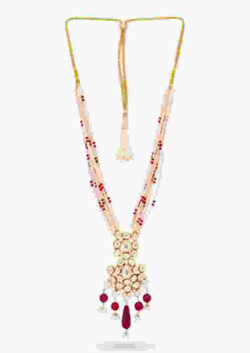 Gold Plated Long Necklace With Kundan Centre Piece, Dangling Red Beads And Pearl Strings By Prerto