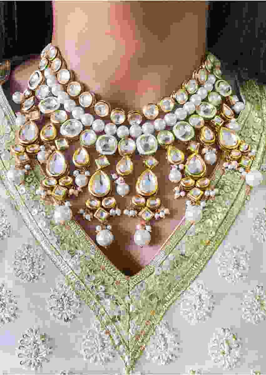 Gold Plated Necklace Accented With Pearls And Kundan In Heritage Design By Prerto