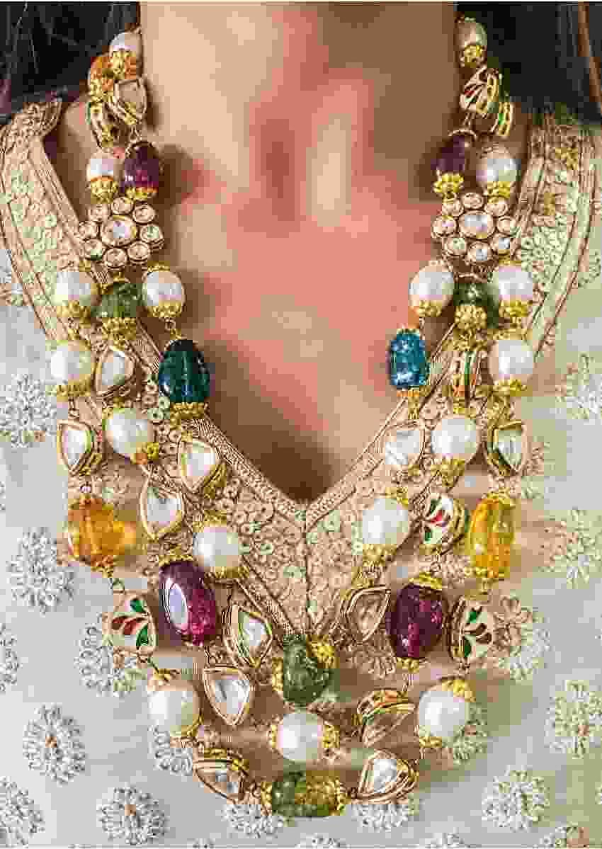 Gold Plated Necklace With Multi Color Beads And Kundan Work By Prerto