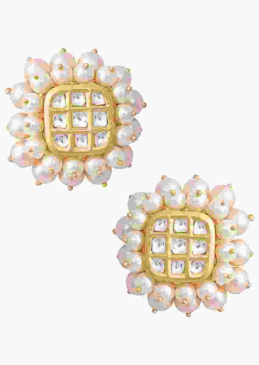 Gold Plated Stud Earrings With Kundan Centre And Pearls On The Edges By Aster