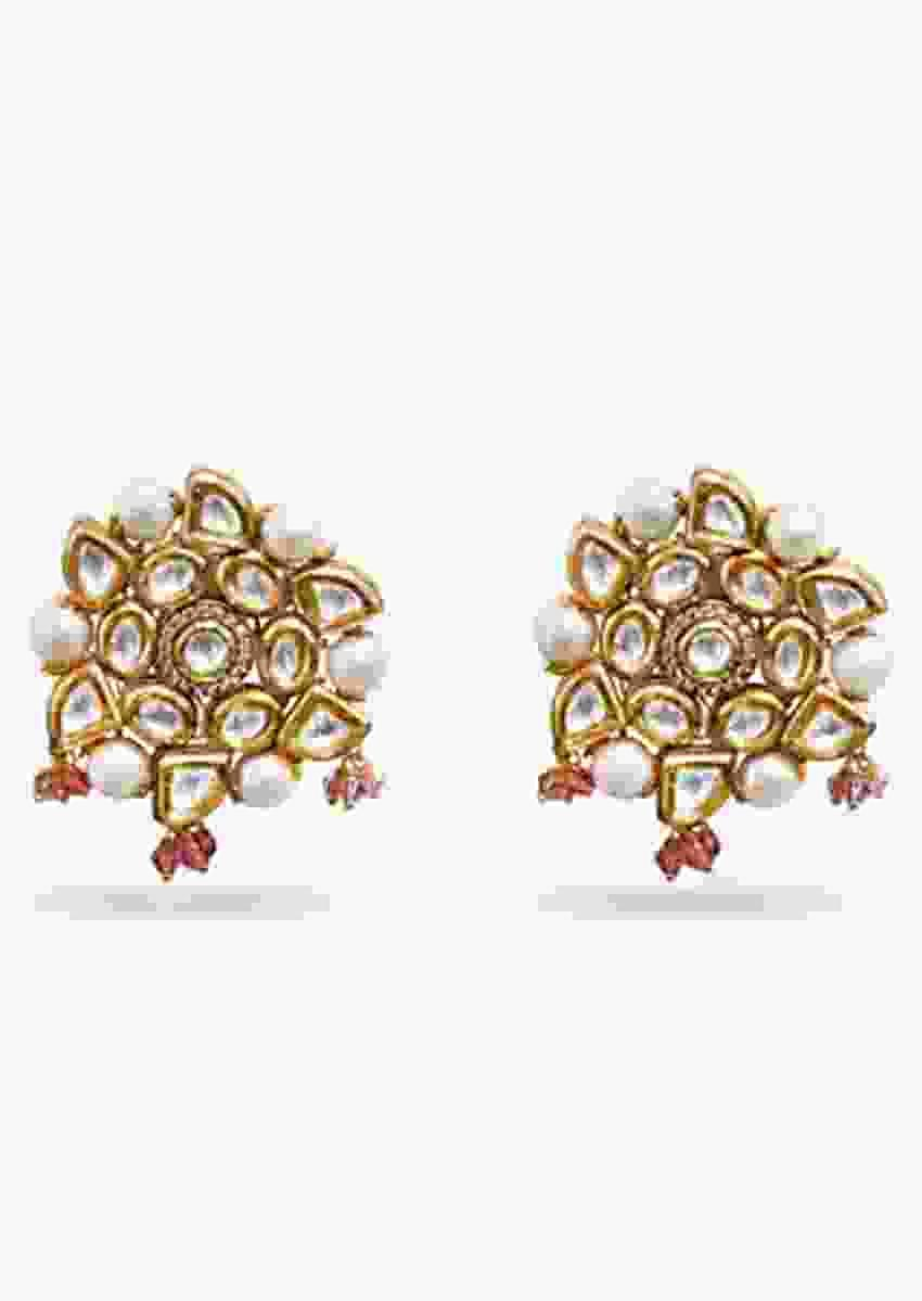 Gold Plated Studs Embellished With Kundan, Pearls And Delicate Pink Beads By Prerto