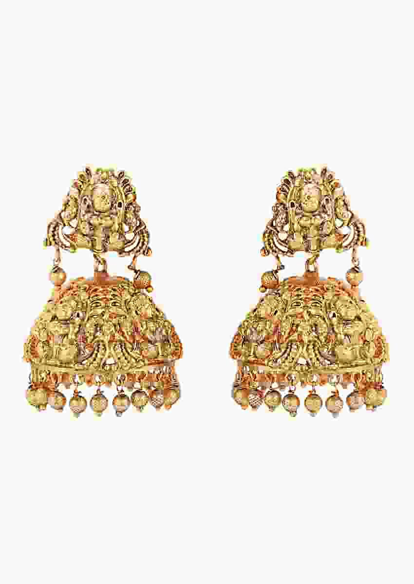 Gold Plated Temple Jhumkas Accented With Rubies And Lustrous Pearls Online - Joules By Radhika