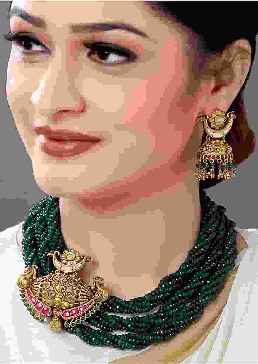 Gold Plated Temple Pendant Set With Green Agate Bead Strings Online - Joules By Radhika
