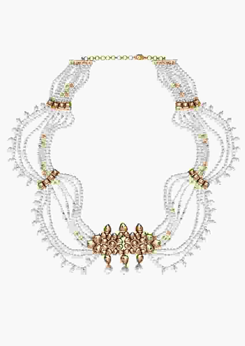 Gold Plated Wait Belt Exquisitely Handmade With Beautiful Blend Of Kundan And Pearls  By Prerto