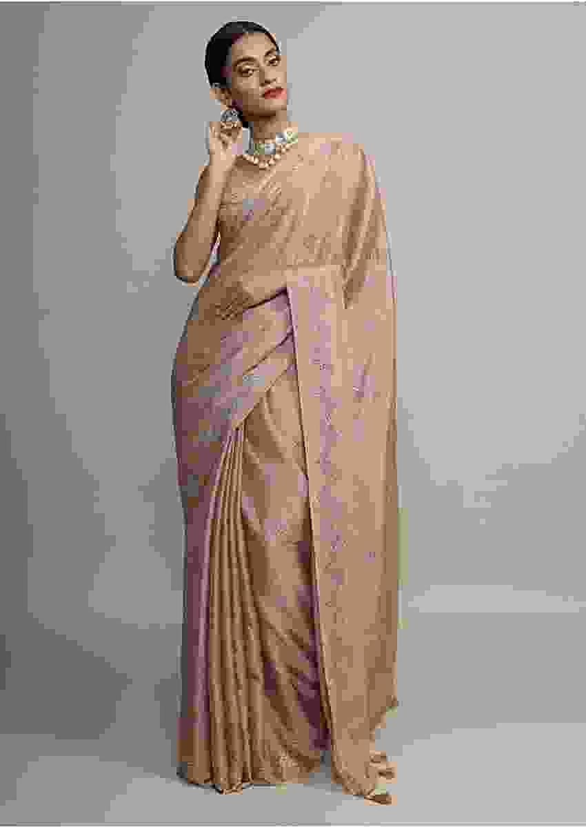 Gold Saree In Chinon Chiffon With Badla Embroidered Geometric Buttis And Chevron Border Online - Kalki Fashion