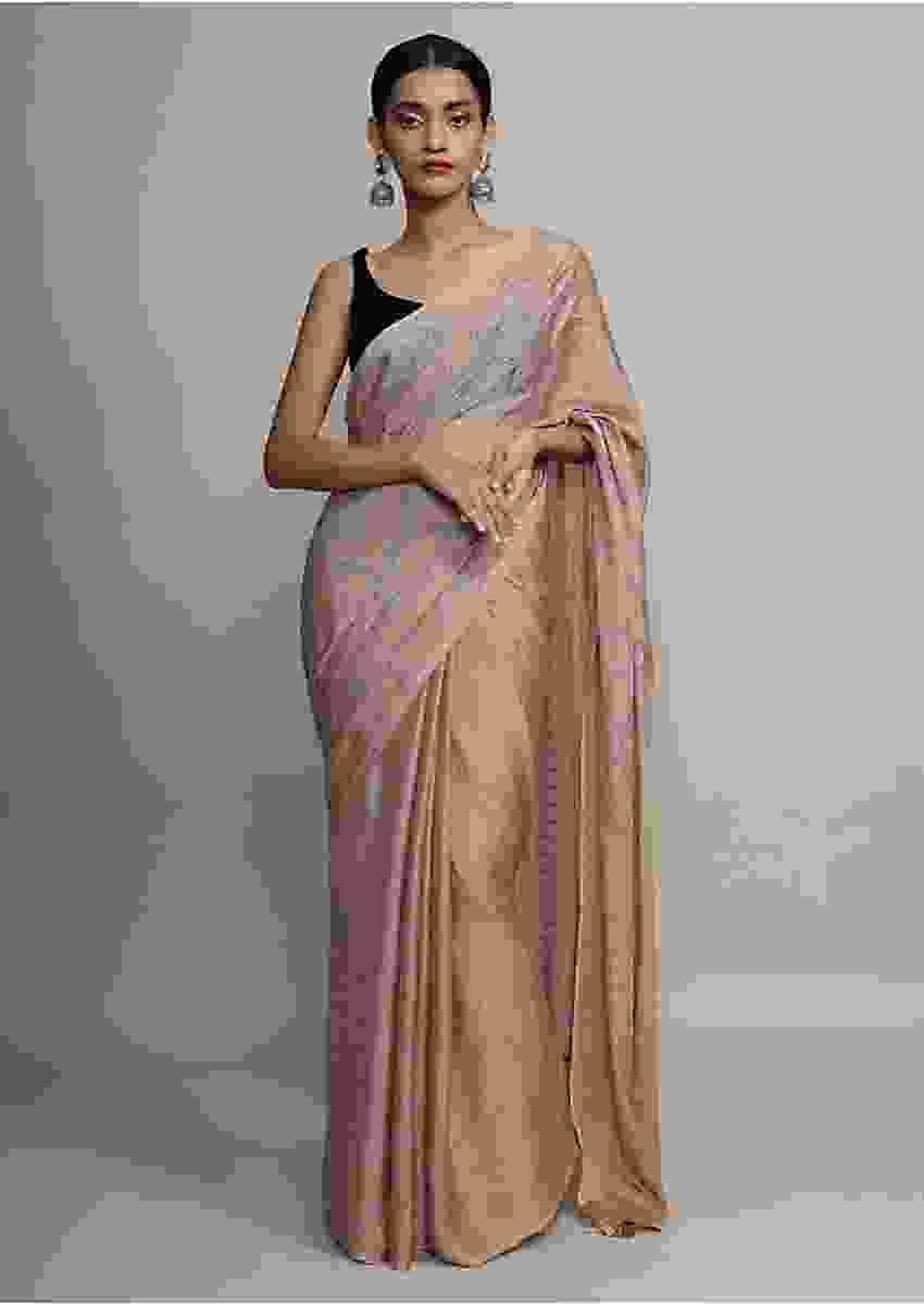 Gold Saree In Chinon Chiffon With Badla Embroidered Round Motifs And Striped Pallu Online - Kalki Fashion
