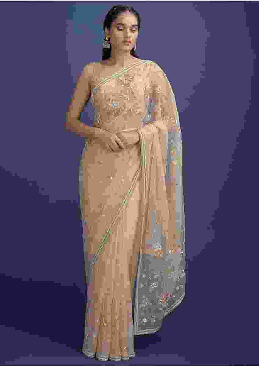 Golden Beige Saree In Organza Embellished In Floral Pattern And Buttis Online - Kalki Fashion