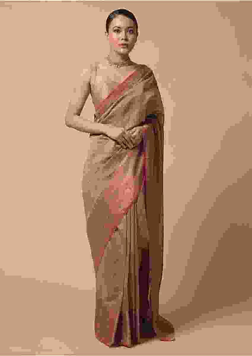 Golden Beige Saree In Zari Kota Silk With Woven Checks And Contrasting Pink Brocade Border Online - Kalki Fashion