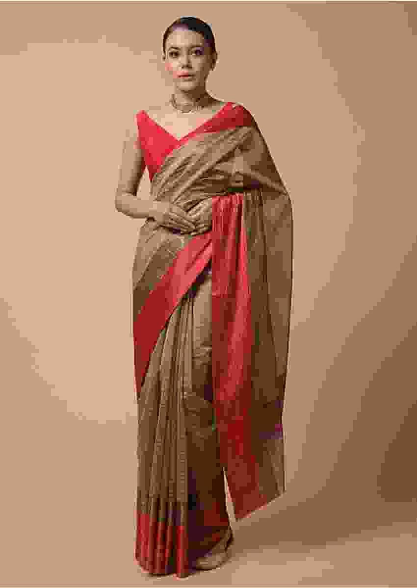 Golden Beige Saree In Zari Kota Silk With Woven Checks And Contrasting Striped Red Border Online - Kalki Fashion