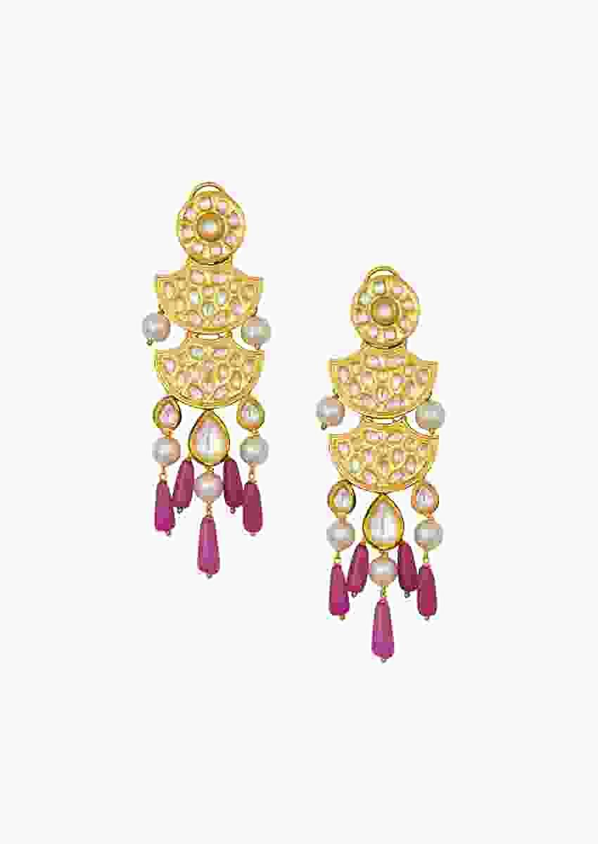 Golden Kundan Polki Earrings With Shell Pearls And Jade Drops Online - Joules By Radhika