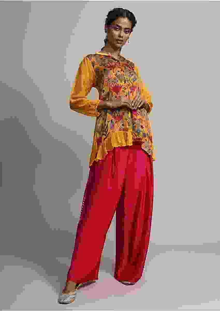 Golden Mustard Digital Floral Printed Top With Contrasting Magenta Pink Pants Online - Kalki Fashion