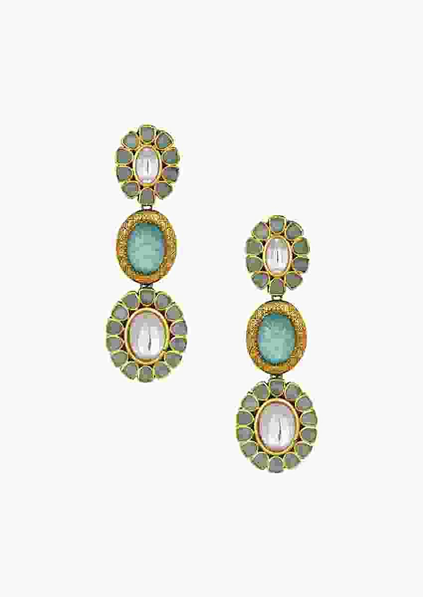 Gorgeous Kundan Polki Earrings Embedded With Hand-Carved Green Onyx Online - Joules By Radhika