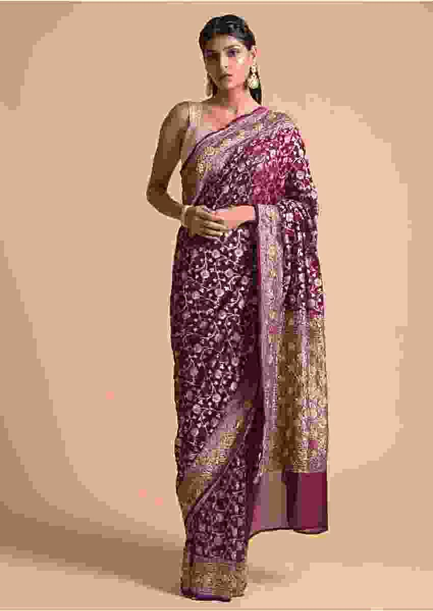 Grape Purple Saree In Georgette With Brocade Floral Jaal And Cut Dana Highlights Online - Kalki Fashion