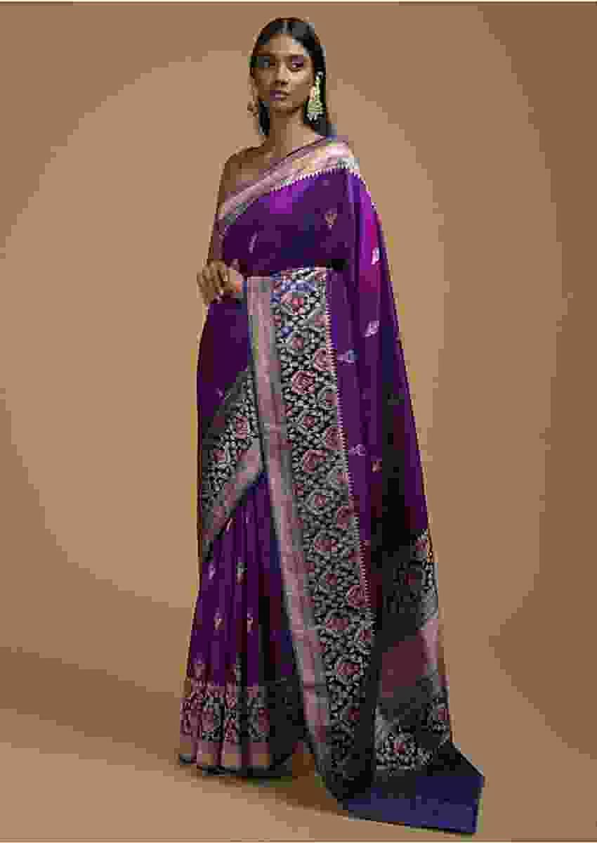 Grape Purple Two Toned Pure Handloom Saree In Silk With Woven Buttis And Intricate Border Online - Kalki Fashion