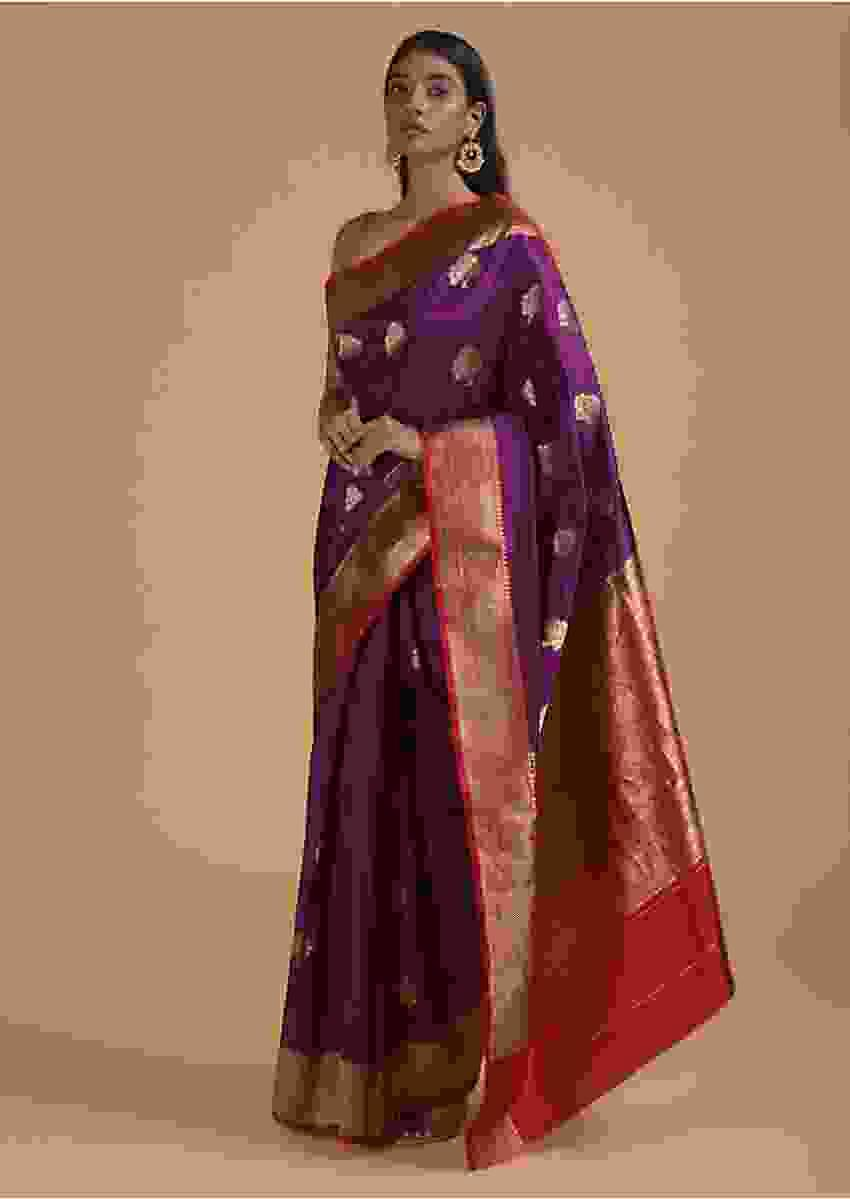 Grape Purple Pure Handloom Saree In Silk With Woven Buttis And Red Border Online - Kalki Fashion
