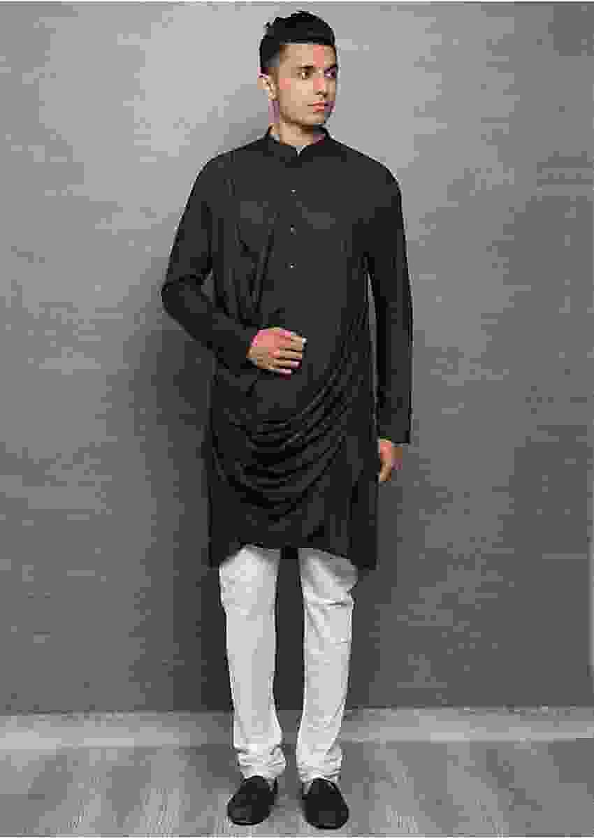 Graphite Grey Traditional Kurta With Cowl Drape Online - Kalki Fashion