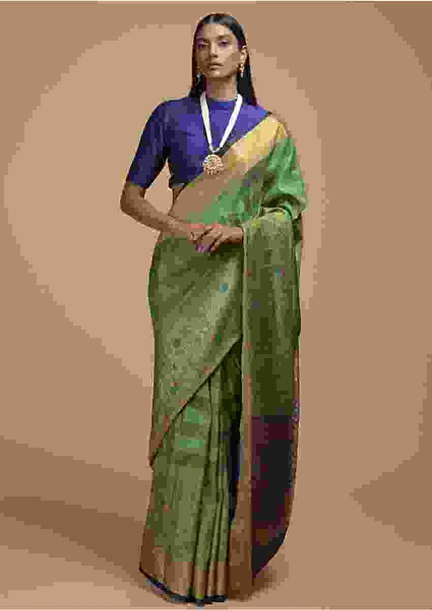 Grass Green Pure Handloom Saree In Tussar Silk With Stripes And Woven Floral Border Online - Kalki Fashion
