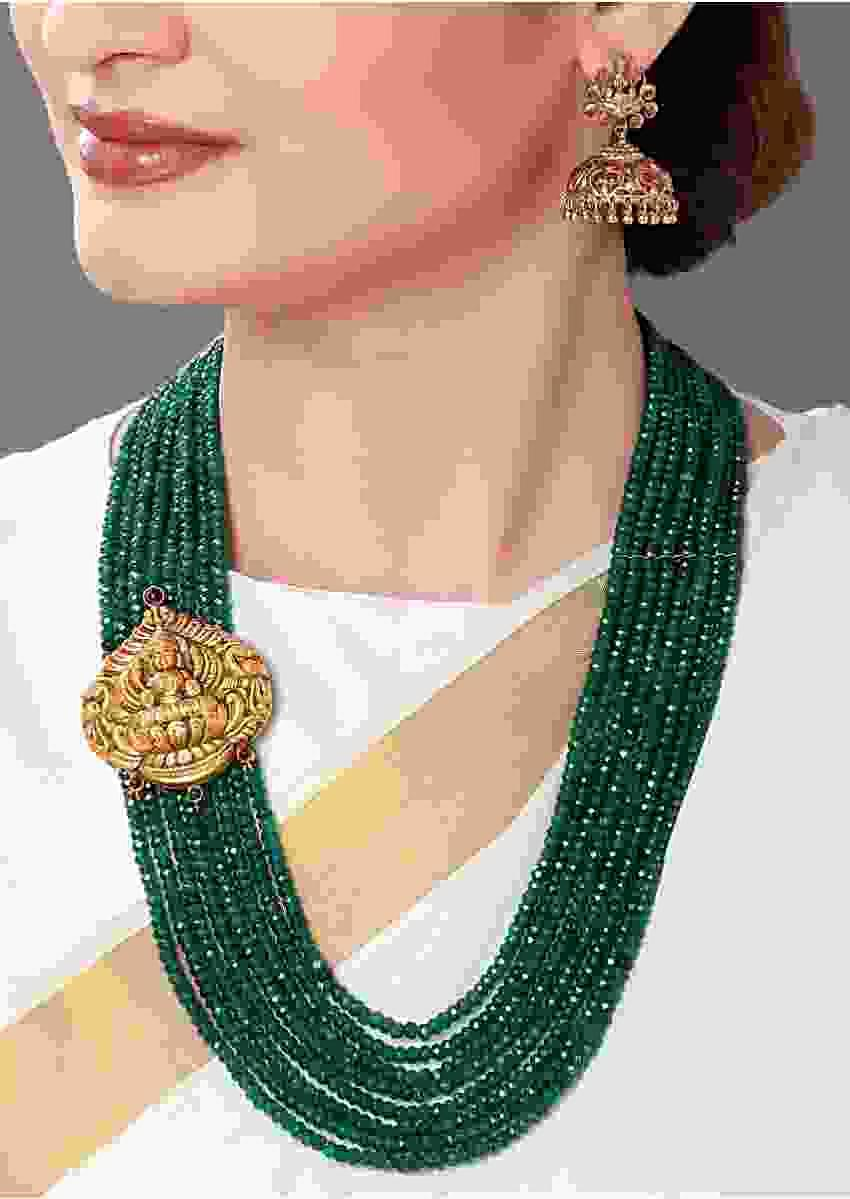 Green Agate Beads Set With Gold Plated Temple Pendant. Online - Joules By Radhika