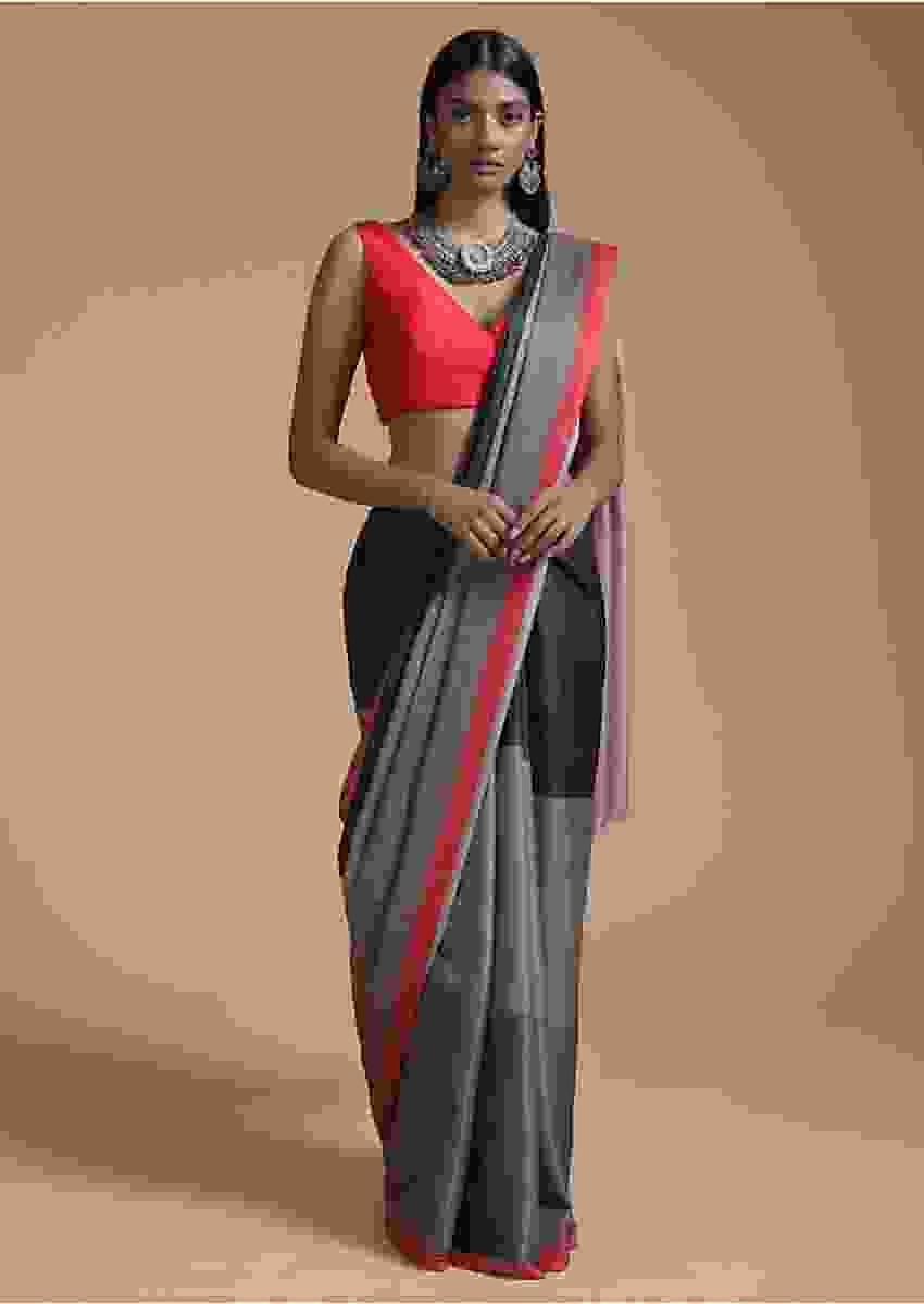 Green And Black Saree In Silk With Color-Blocked Print Online - Kalki Fashion