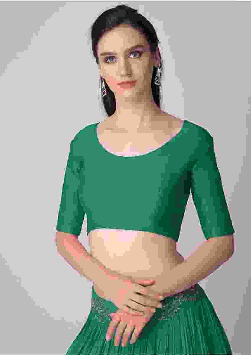 Green Blouse With Half Sleeves And Round Neckline  Online - Kalki Fashion