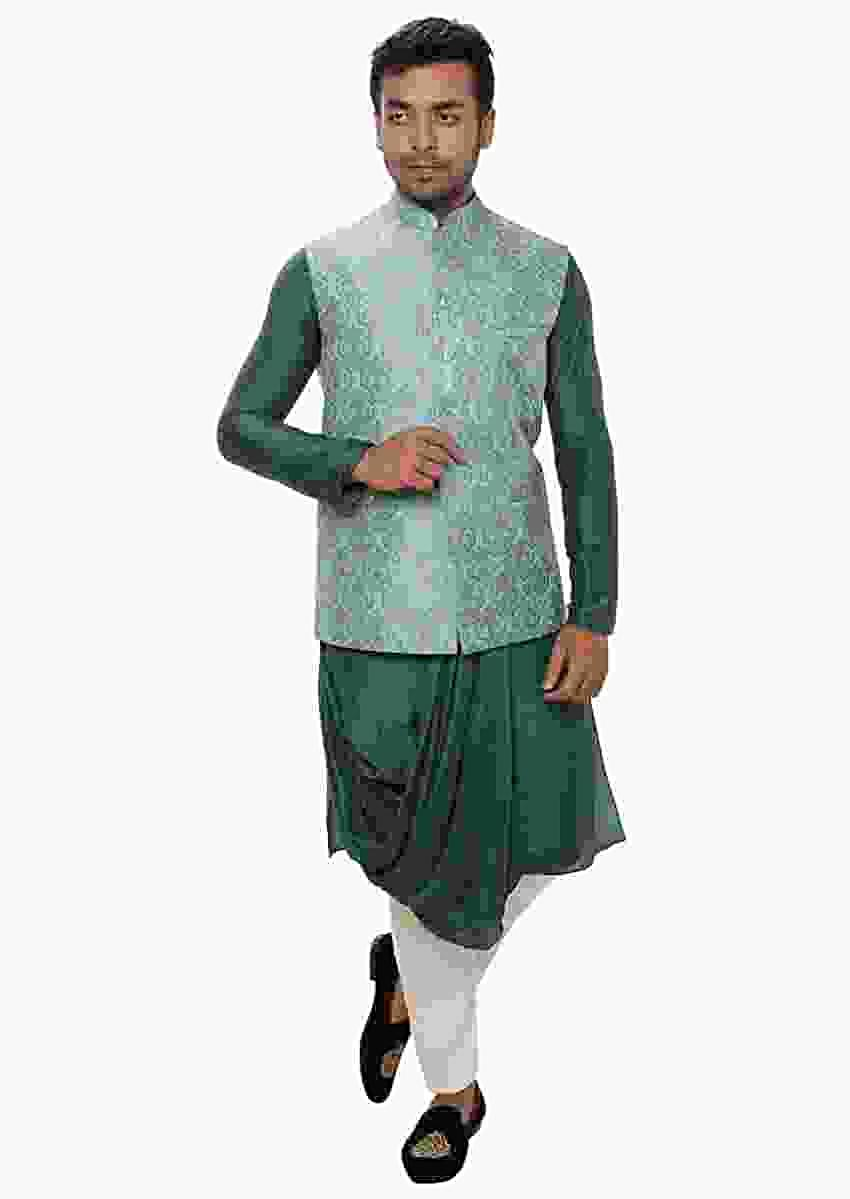 Green Cowl Drape Kurta Set & A Light Blue Brocade Nehru Jacket Online - Kalki Fashion