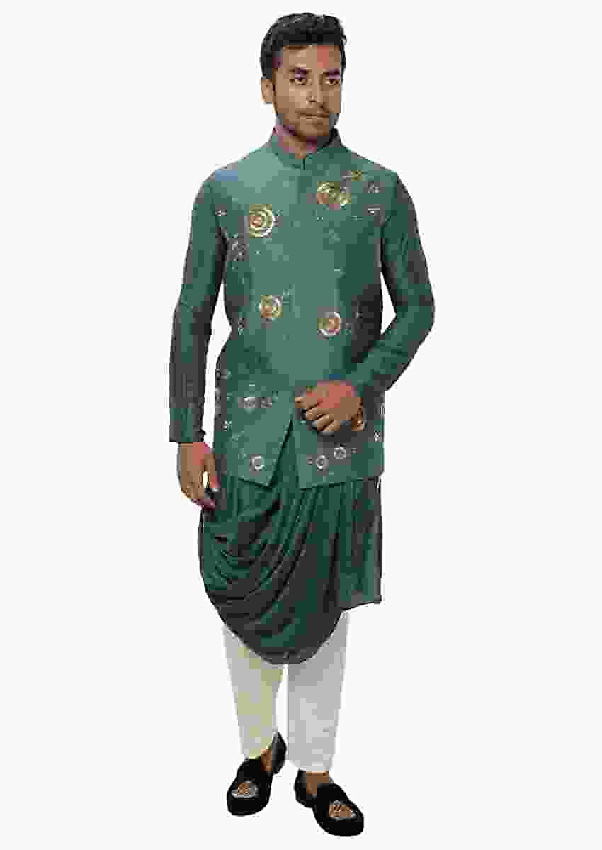 Green Cowl Drape Kurta Set With A Royal Gold, Threadwork Embroidered Nehru Jacket Online - Kalki Fashion