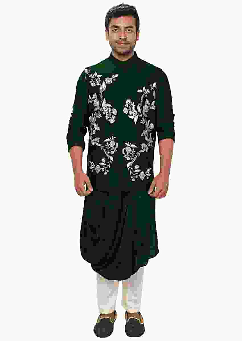 Green Kurta With Cowl Drape And Floral Embroidered Jacket Set Online - Kalki Fashion